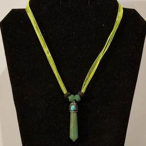 Green Aventurine Pave Crystal Pendulum Necklace